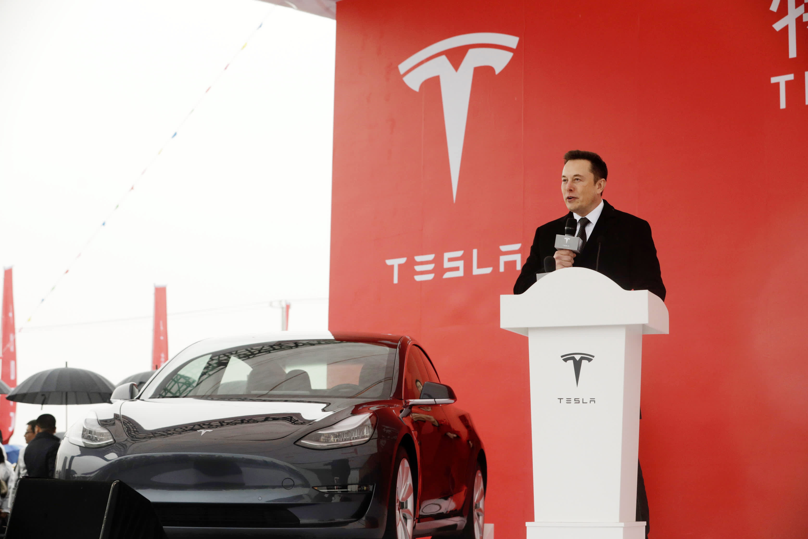 Elon Musk, chief executive officer of Tesla Inc., speaks during an event at the site of the company's manufacturing facility in Shanghai, China, on Monday, Jan. 7, 2019.