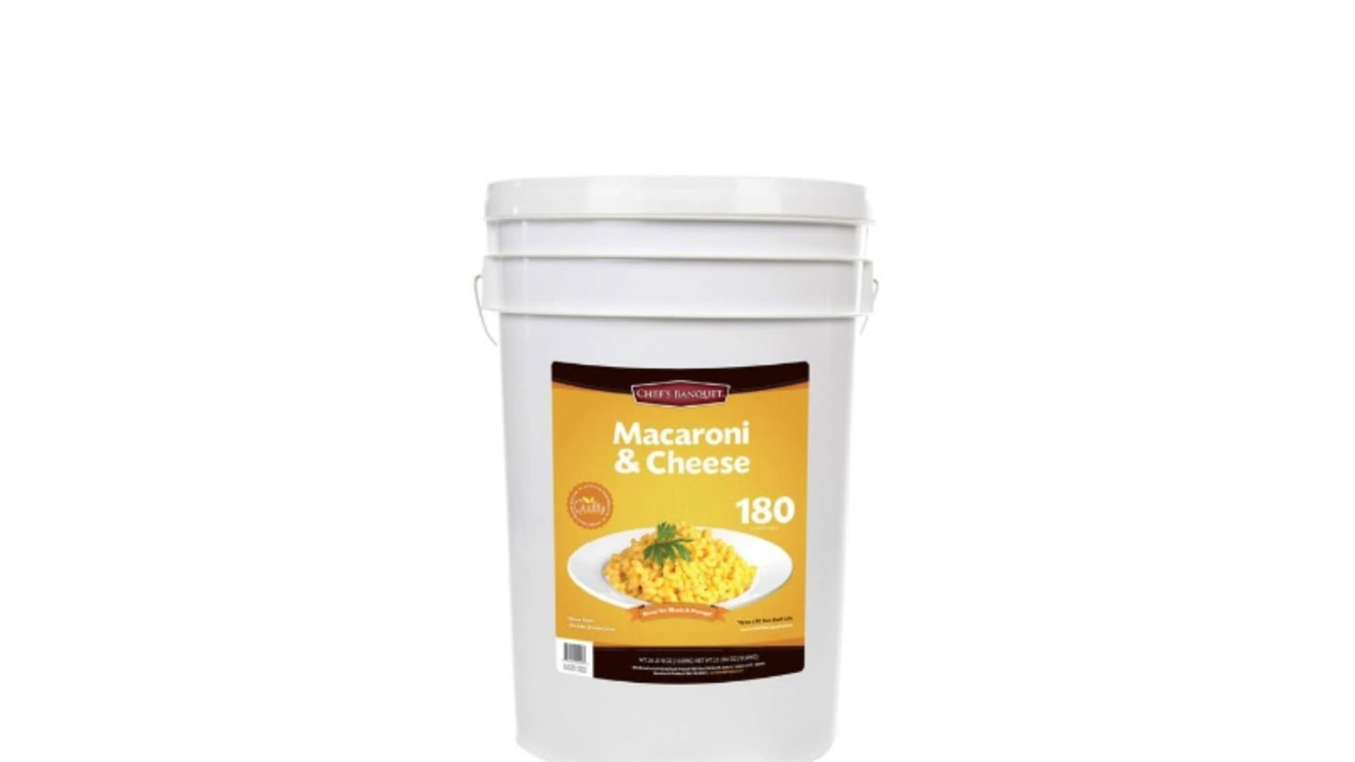 The Chef's Banquet Macaroni & Cheese has a 25-year shelf life.