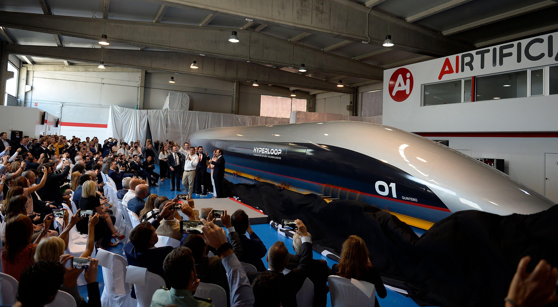 A full-scale passenger Hyperloop capsule is presented by Hyperloop Transportation Technologies on October 2, 2018 in El Puerto de Santa Maria.