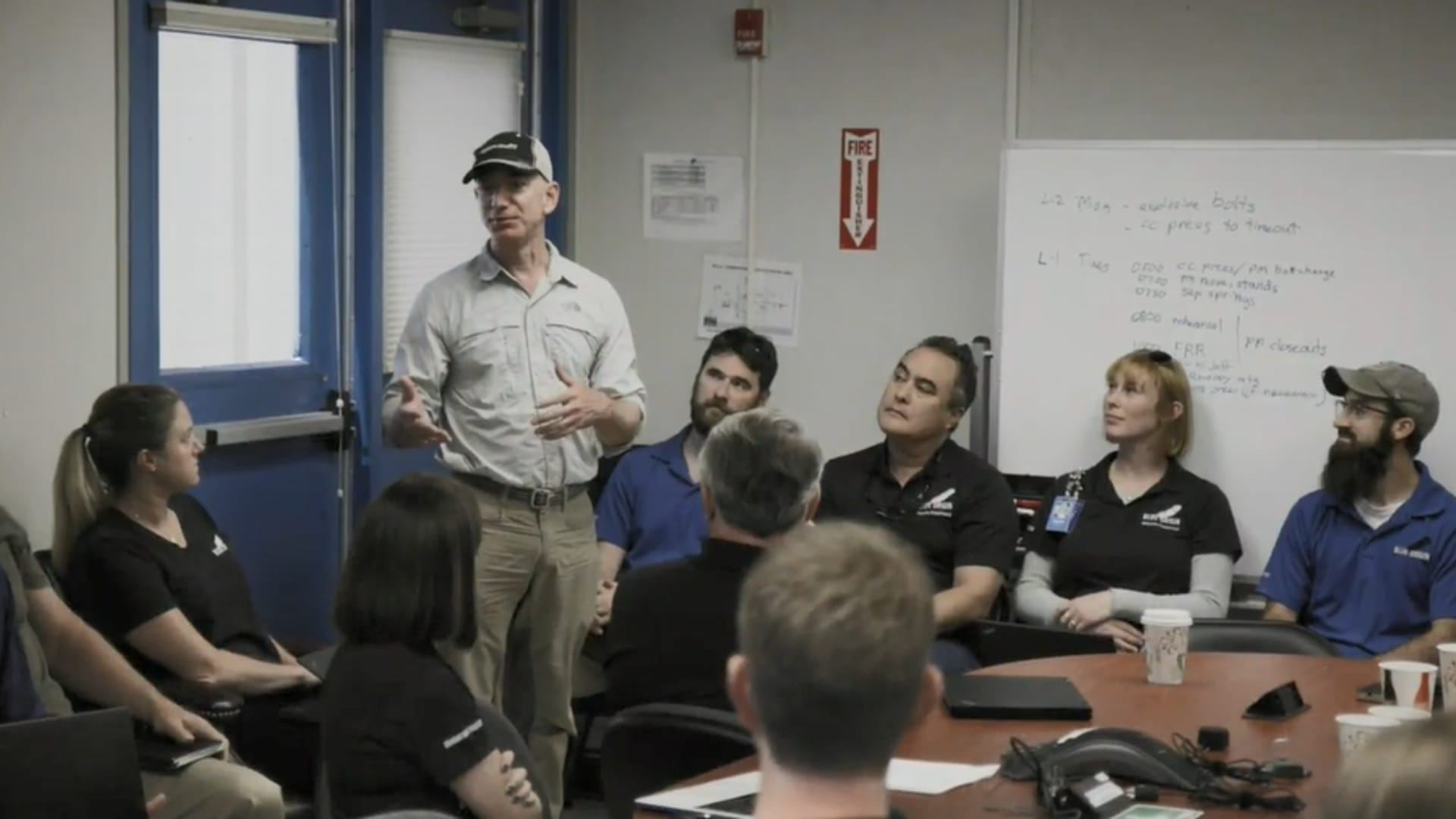 Blue Origin founder Jeff Bezos speaks to company employees during a launch preparation meeting in 2019.