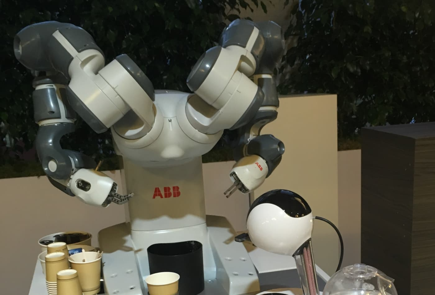 A robot is serving coffee at Davos to show people what's in store for the future