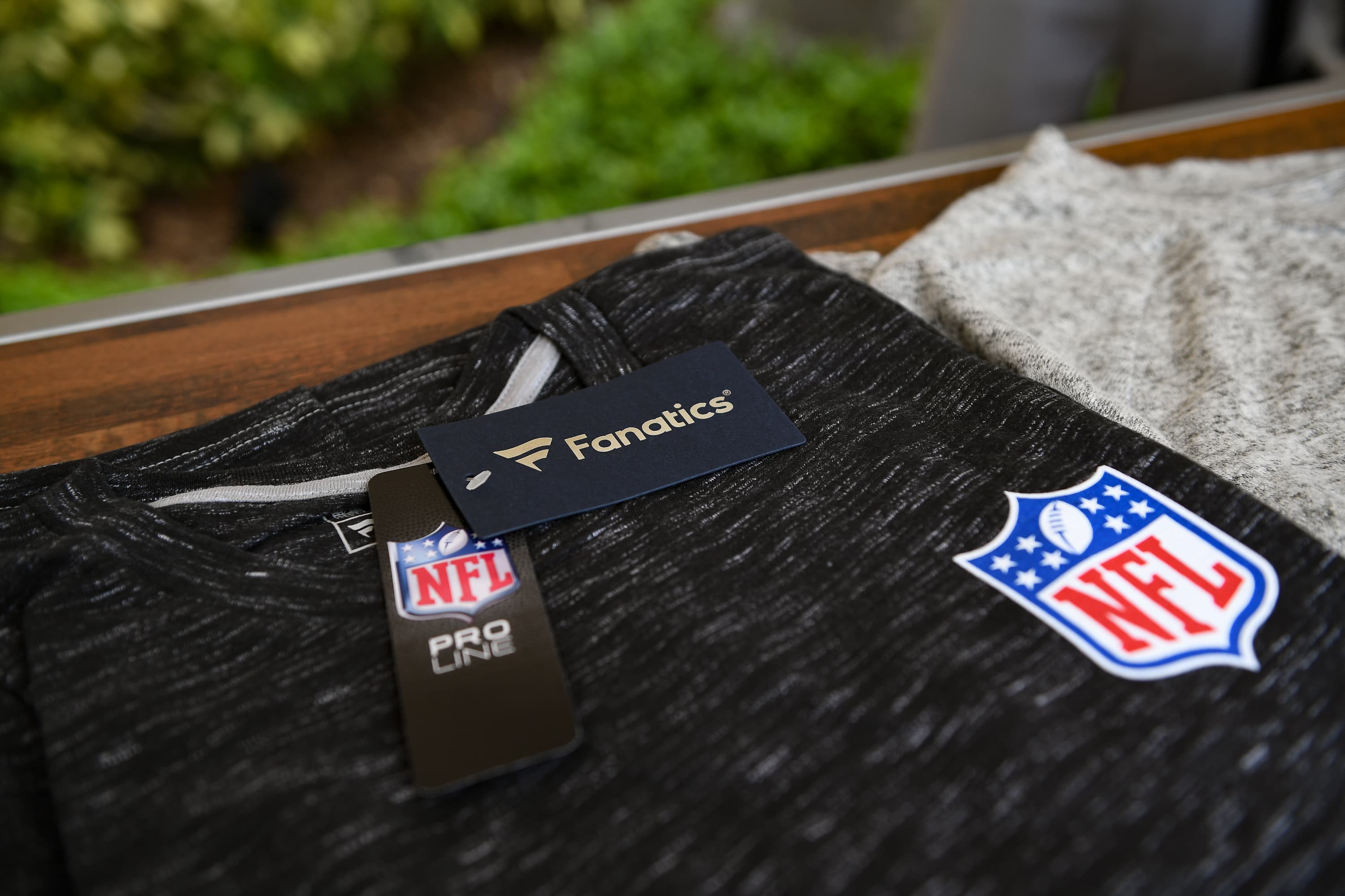 A detailed photo of the Fanatics apparel displayed at NFL Hospitality during the 2018 NFL Annual Meetings at the Ritz Carlton Orlando, Great Lakes on March 26, 2018 in Orlando, Florida.