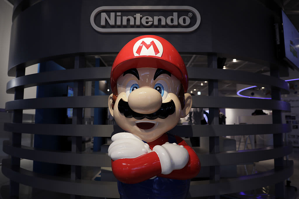 A statue of Nintendo's video game character Mario stands on display at the Nintendo Game Front showroom in Tokyo, Japan.