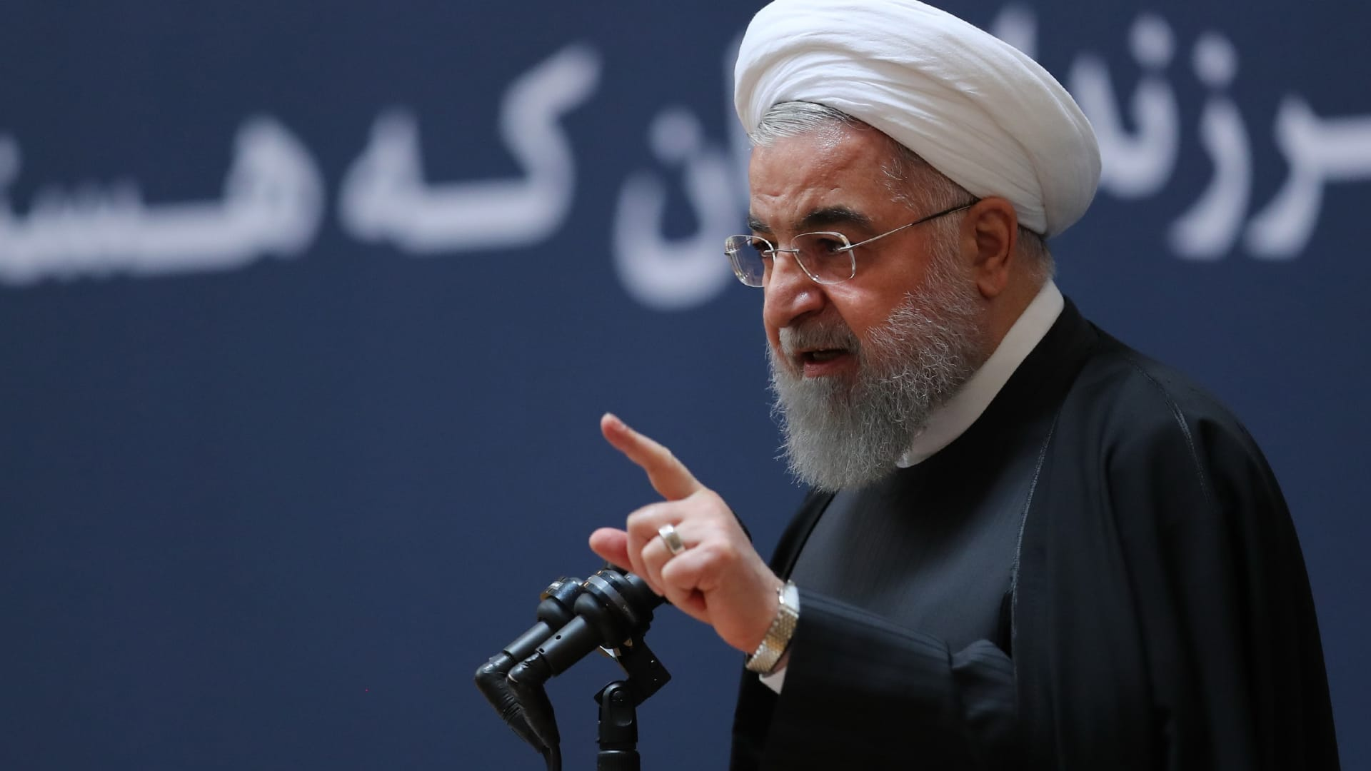 Iranian President Hassan Rouhani makes a speech during a ceremony in Tehran, Iran on January 10, 2019.