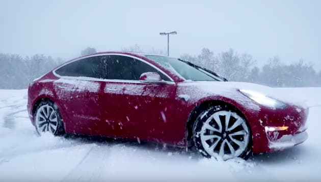Ss Tesla Model 3 In Snow Winter Conditions