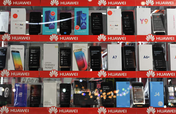 A view of Huawei phones, seen in the shopping street in the Old Town of Amman on Jan. 30, 2019.