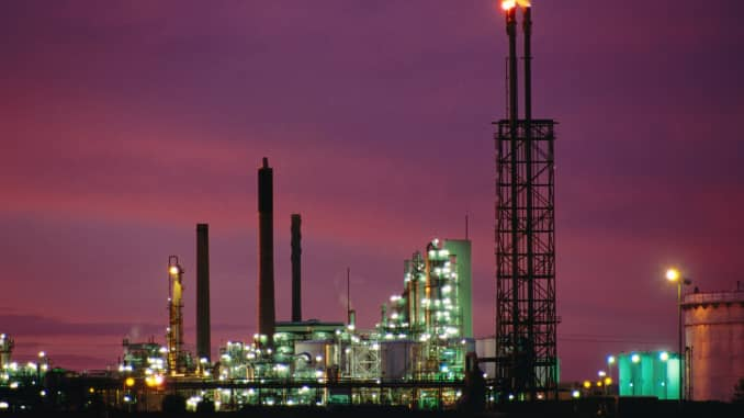GP: Oil refinery at Corio silhouetted at sunset 190923