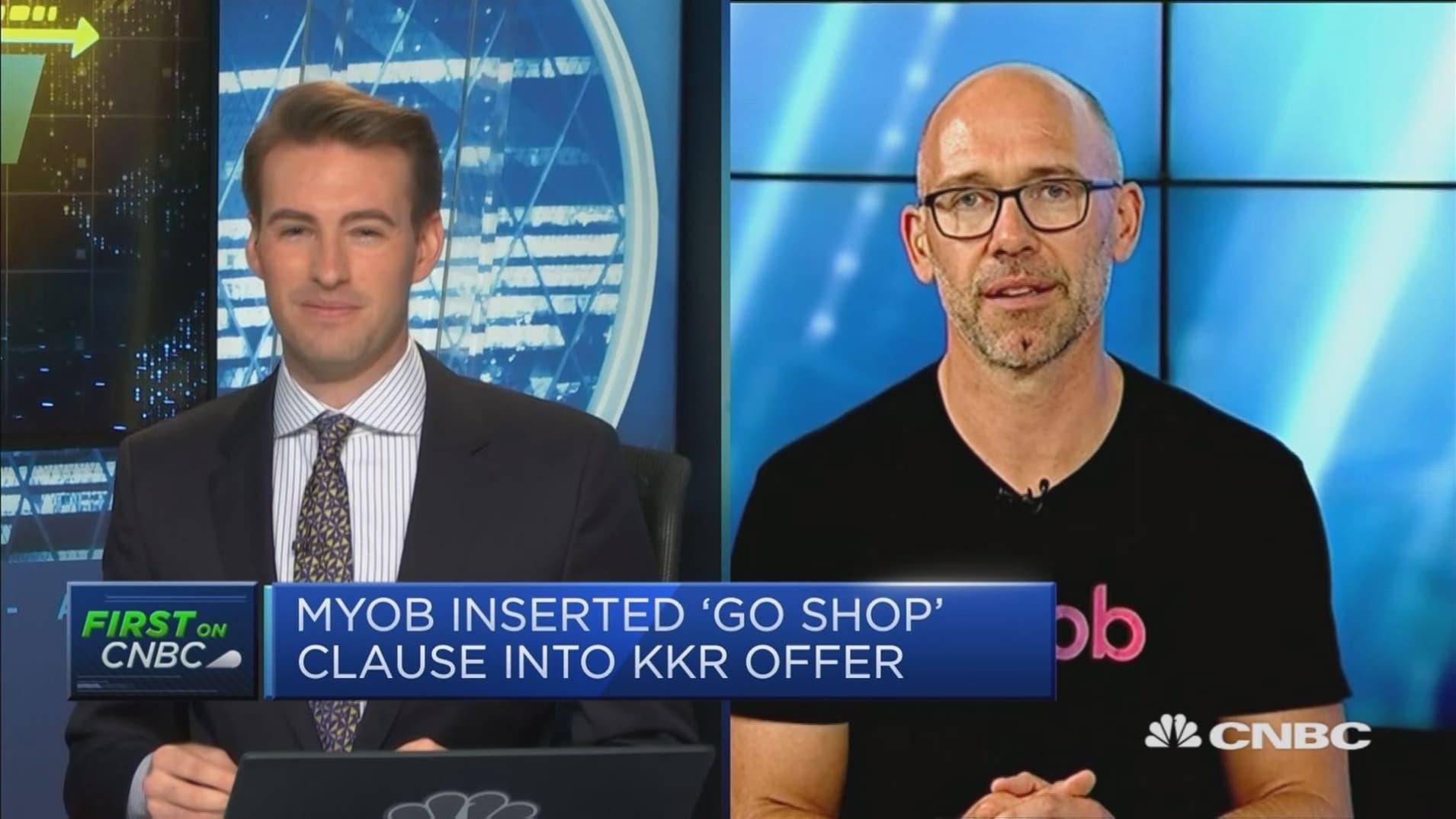 Myob puts 'go shop' clause into KKR offer