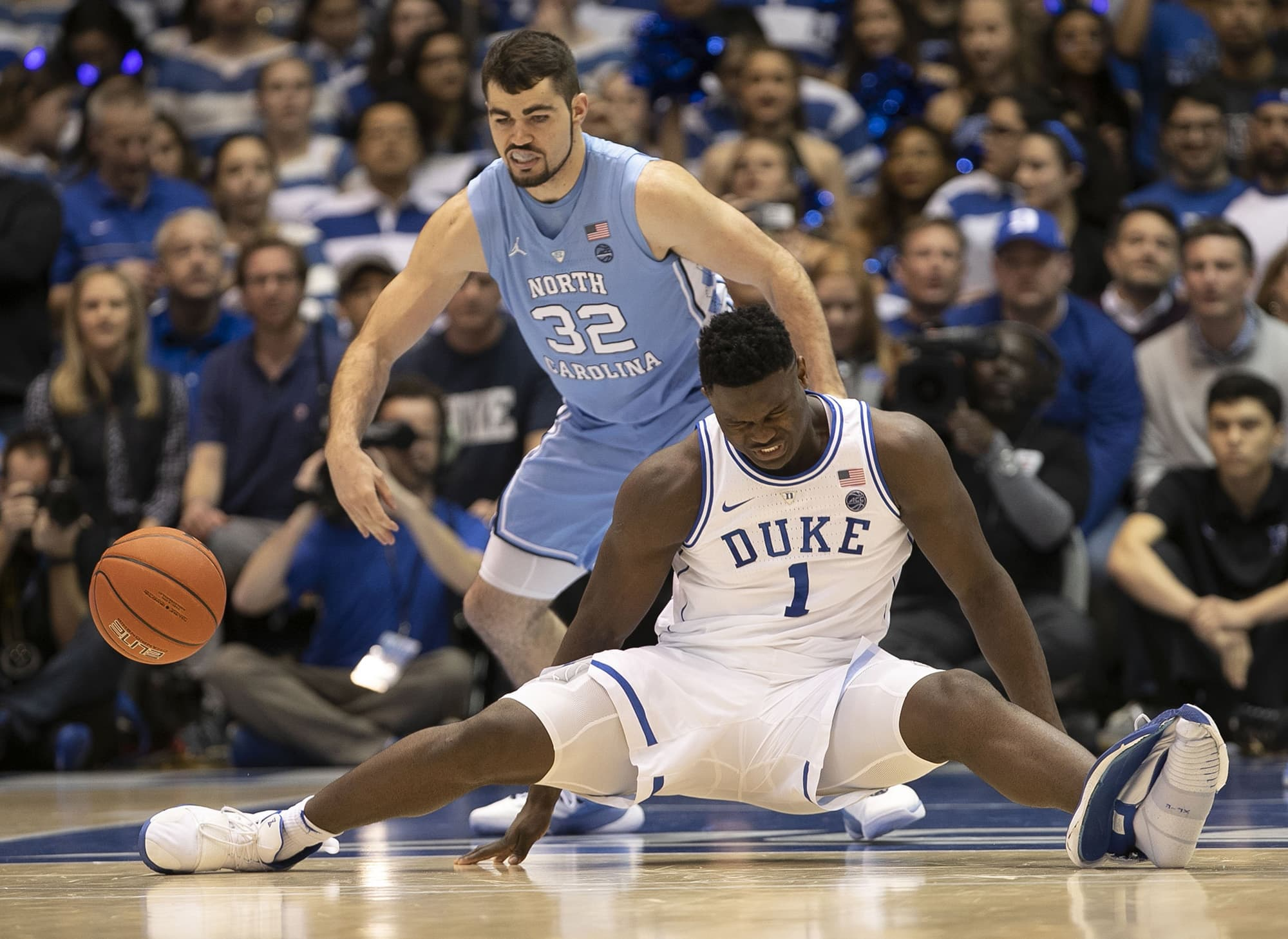 97e59841ac4 Duke player Zion Williamson injured when Nike shoe blows apart during game