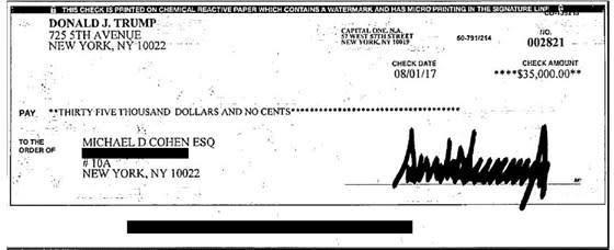 Michael Cohen exhibit checks Donald Trump hush money