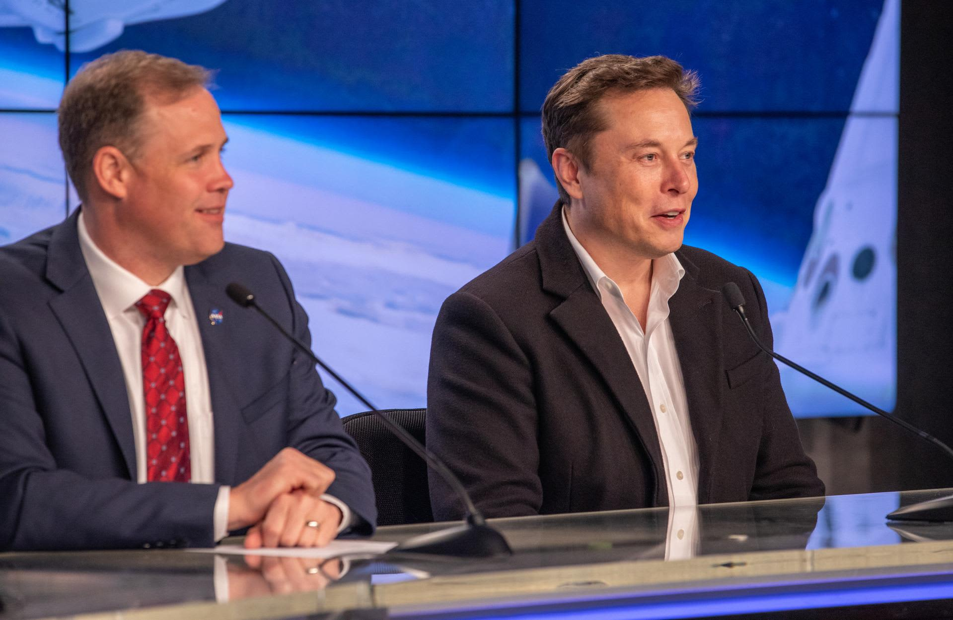 Watch Elon Musk and NASA chief Jim Bridenstine give an update on SpaceX's astronaut spacecraft