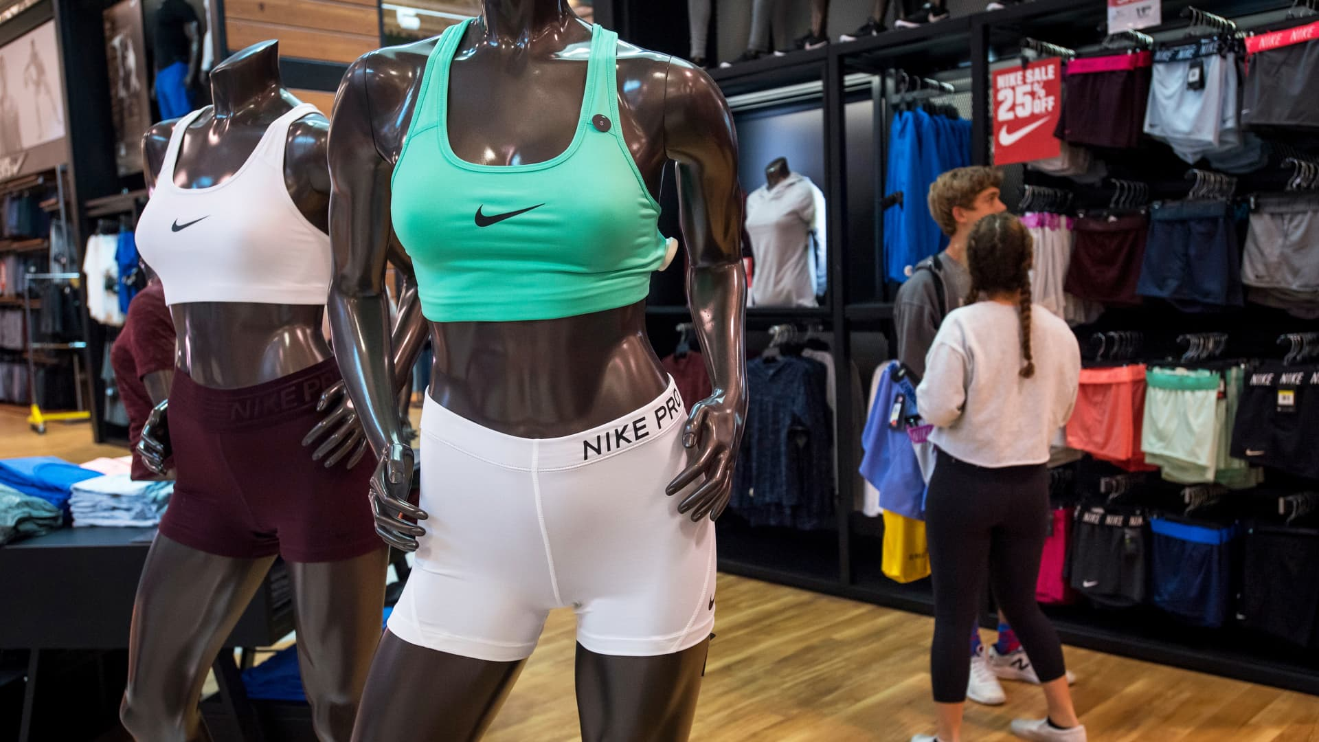 Nike athletic wear is seen on mannequins displayed at a Dick's Sporting Goods store in Daly City, California.
