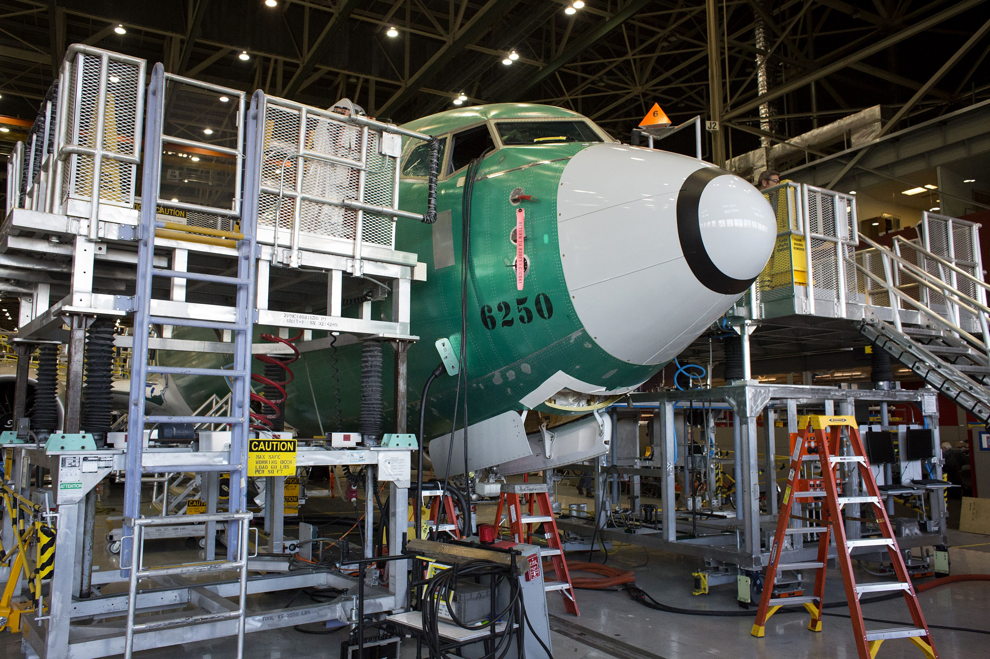 The nose of a Boeing Co. 737 MAX 9 jetliner sits during production at the company's manufacturing facility in Renton, Washington.