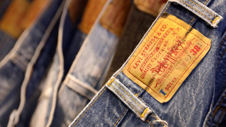 Jeans are displayed at a Levi Strauss store in New York, March 19, 2019.