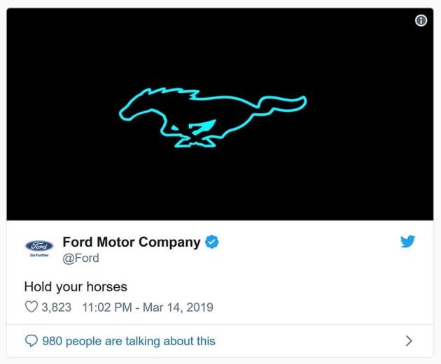 Ford Mustang Tweet 3 14 19