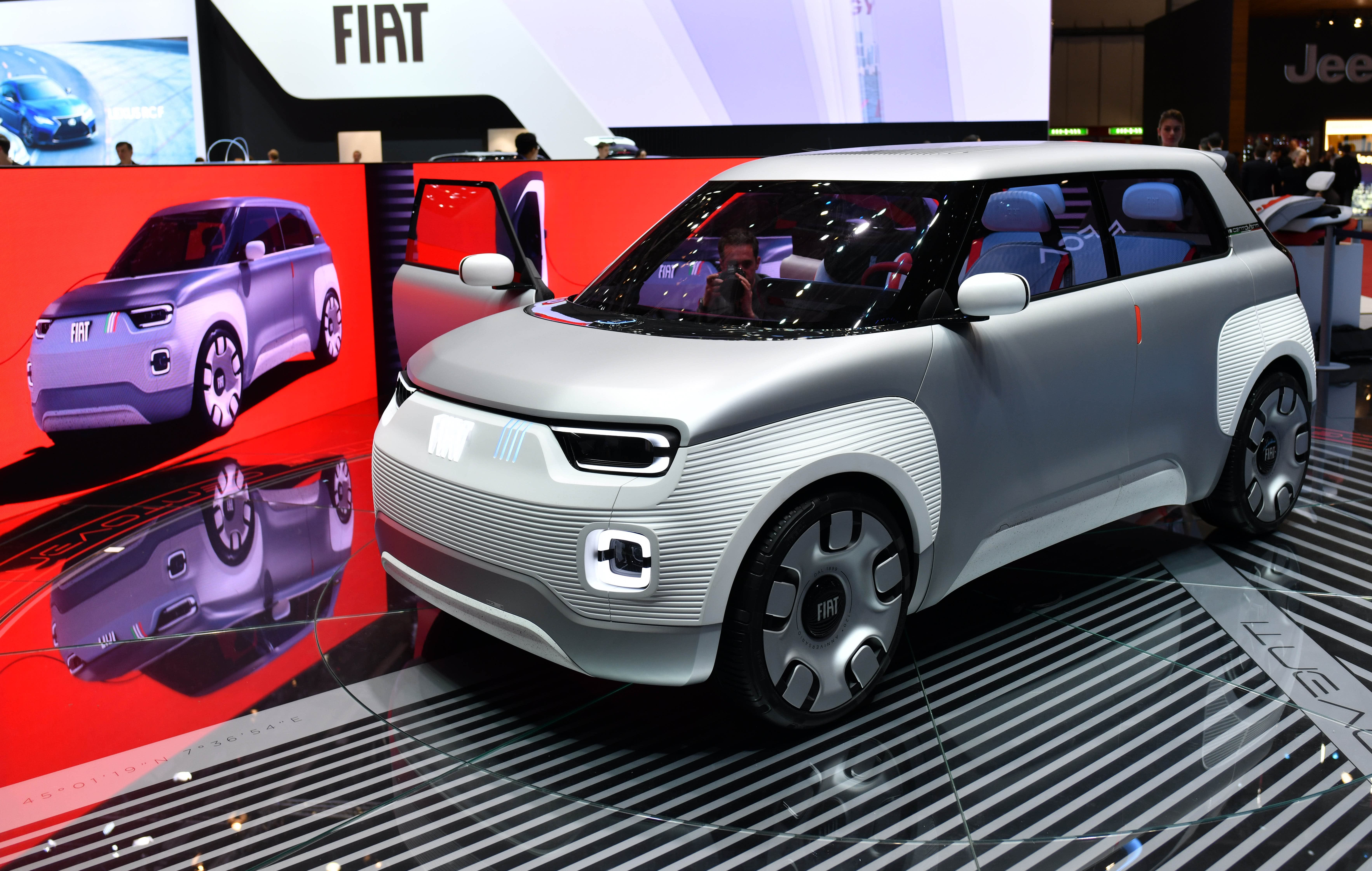The Italian automaker Fiat unveils 'Centoventi' electric concept car during the second press day of the 89th Geneva International Motor Show in Geneva, Switzerland on March 06, 2019. (Photo by Mustafa Yalcin/Anadolu Agency/Getty Images)