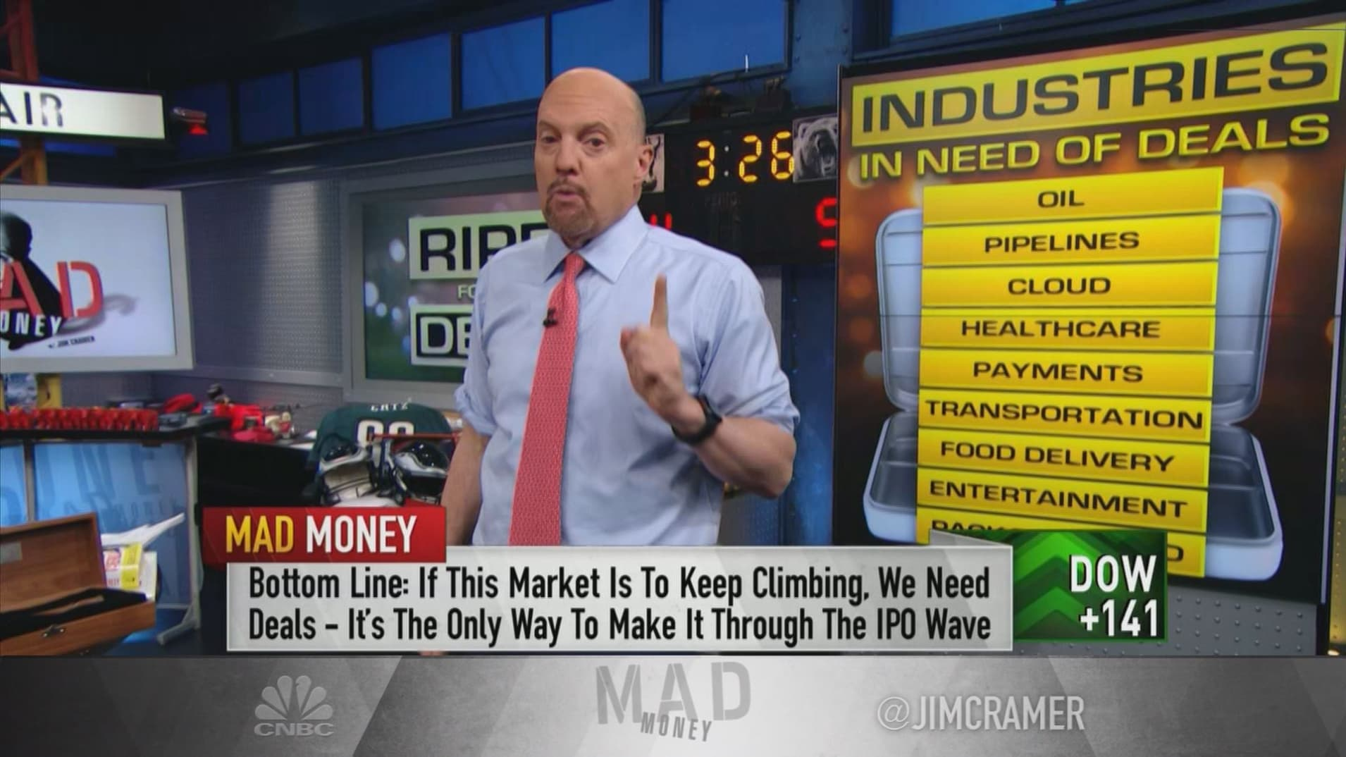 Cramer: Wall Street will get flooded with IPOs if we don't see more mergers