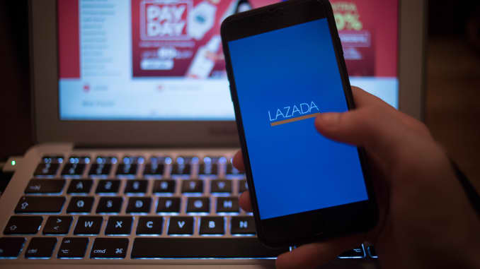 The Lazada application seen displayed on a iPhone.