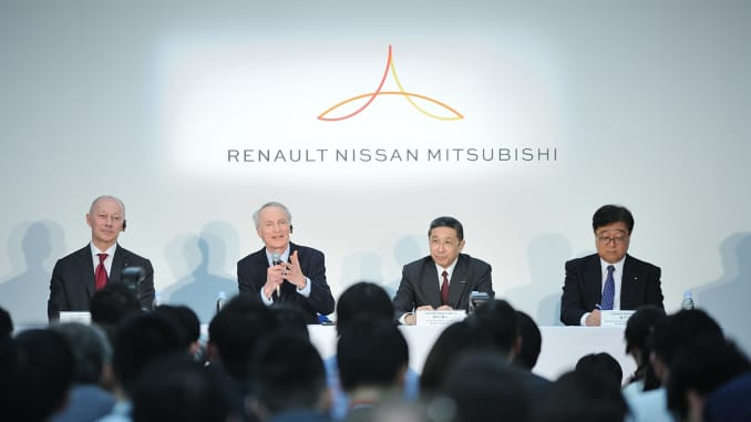 The leaders of the Alliance Renault-Nissan-Mitsubishi hold a joint press conference following the automakers news board meeting at Nissan Headquarters in Yokohama, Japan on March 12, 2019.