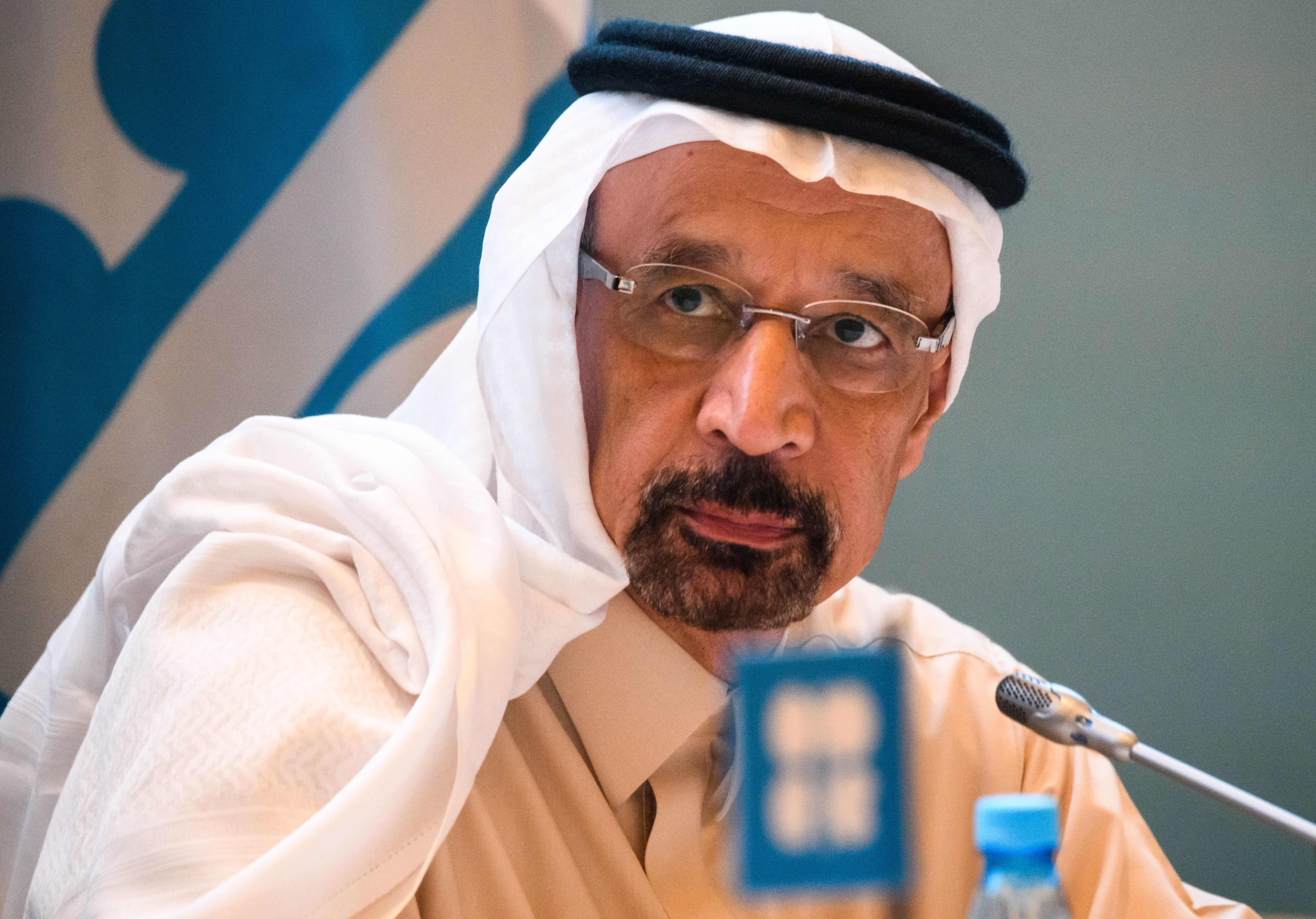 Saudi Arabia's Energy Minister Khalid al-Falih attends a press conference at the end of the 13th meeting of the Joint Ministerial Monitoring Committee (JMMC) of OPEC and non- OPEC countries in Baku on March 18, 2019.