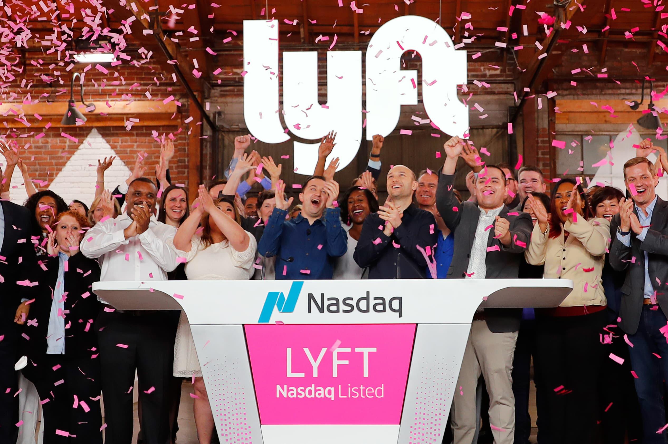 RT: Lyft IPO Confetti Opening Bell Nasdaq 190329