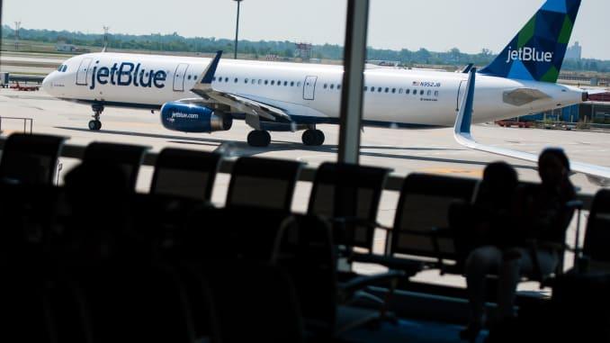 JetBlue slides after lowering guidance on Dorian, demand