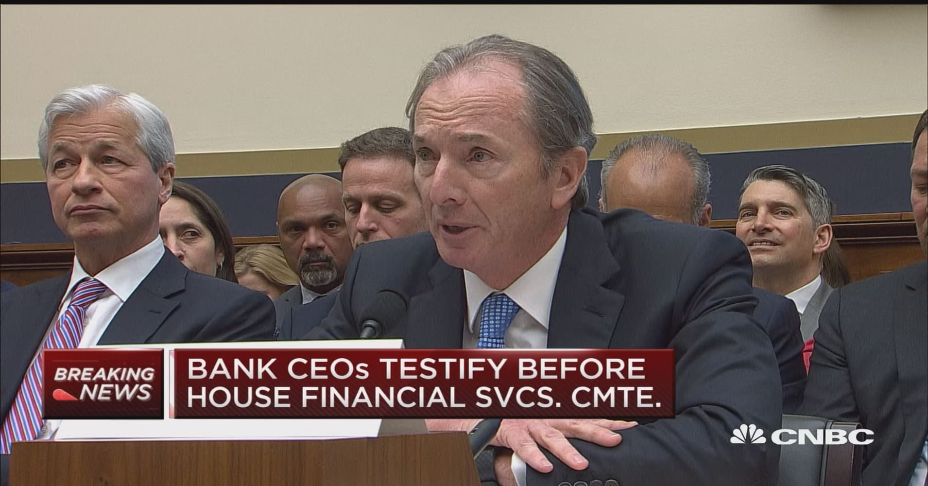 Morgan Stanley CEO James Gorman delivers his opening statement to the House  Financial Services