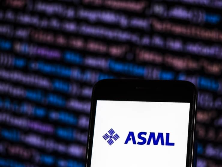 Premium: ASML Holding Semiconductor company logo seen displayed on...