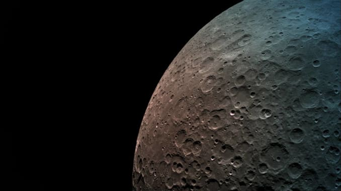 A photo of the moon taken by SpaceIL's Beresheet spacecraft in orbit.