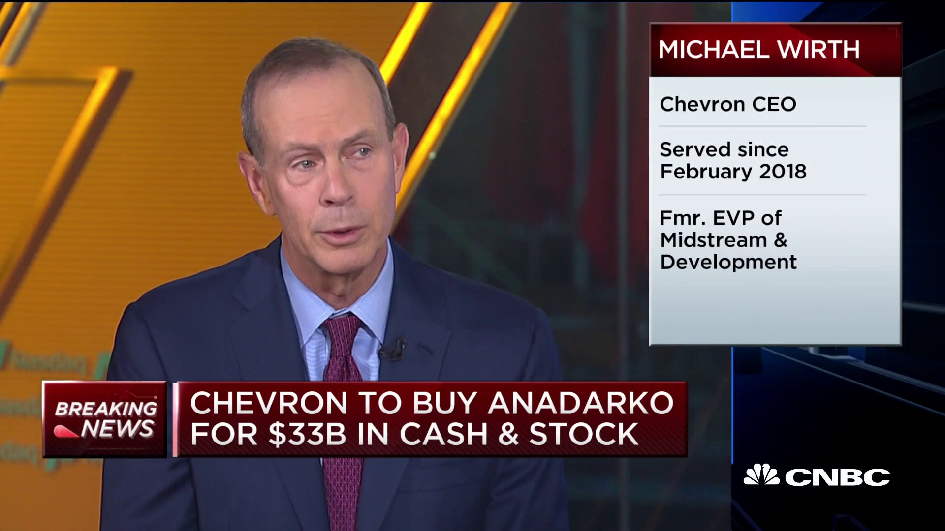 Chevron CEO Michael Wirth talks Anadarko Petroleum acquisition