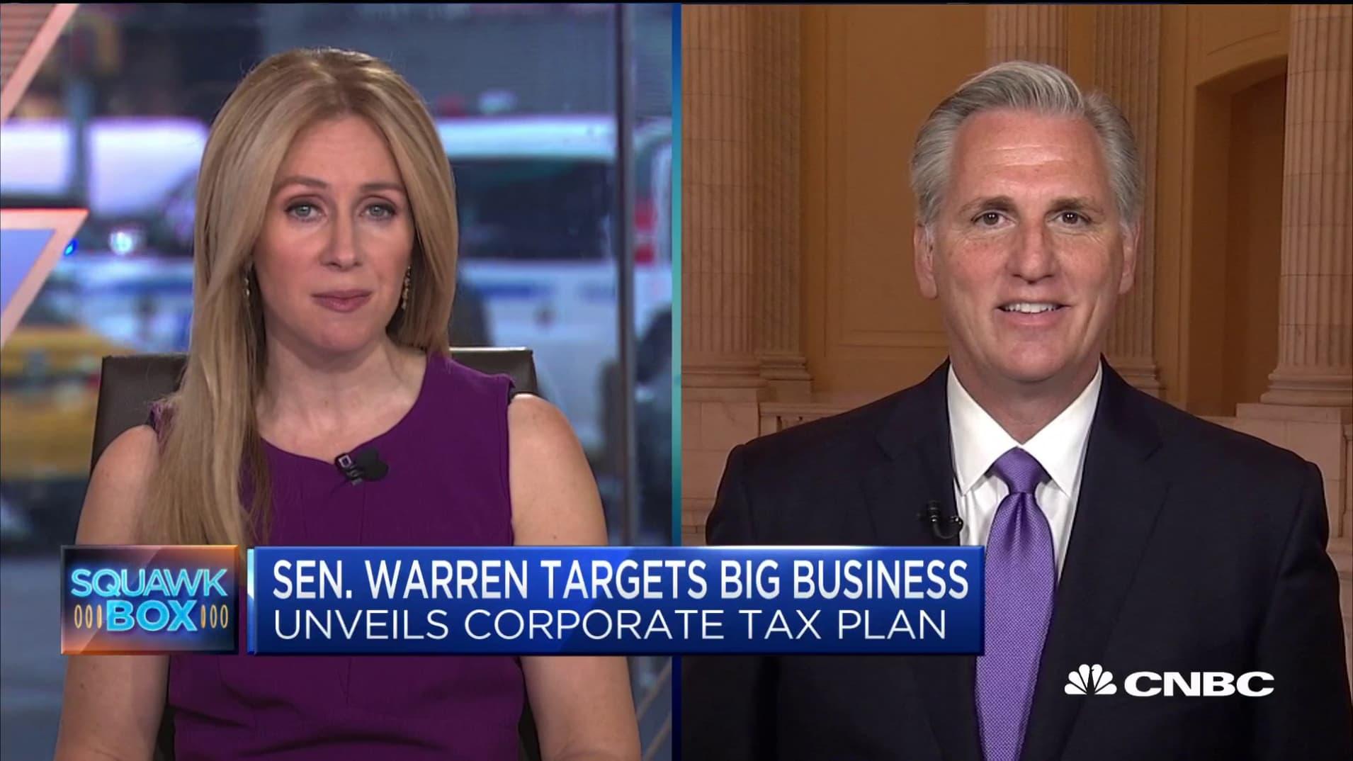 Elizabeth Warren's corporate tax plan won't work out: House minority leader Kevin McCarthy