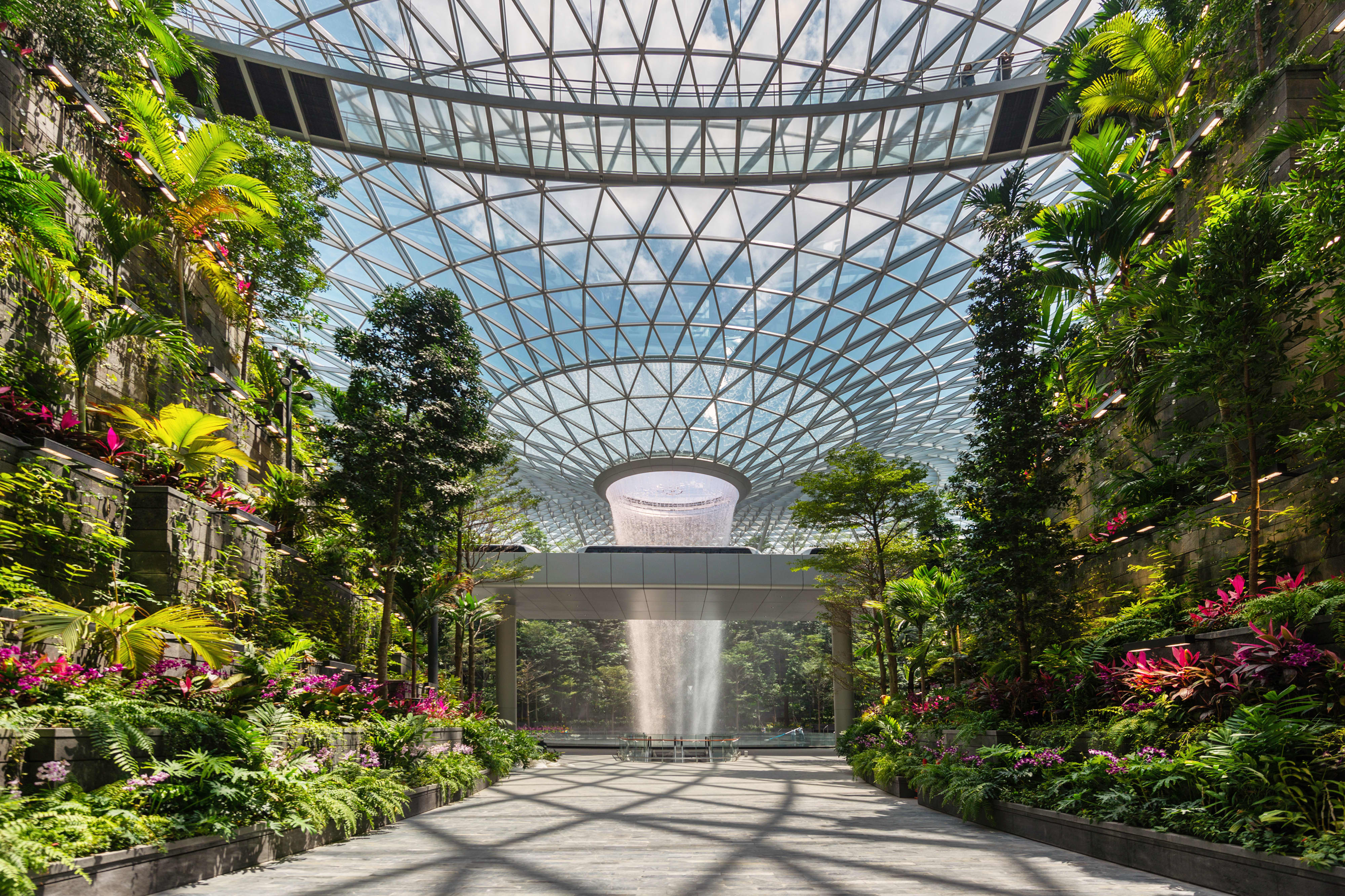 Singapore's Changi Airport touts the world's tallest indoor waterfall