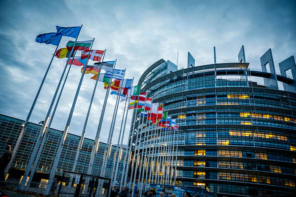 STRASBOURG, FRANCE - JANUARY 15: The flags of the member states of the european union are blowing in the wind in front of The European Parliament (EP) on January 15, 2019 in Strasbourg, France.