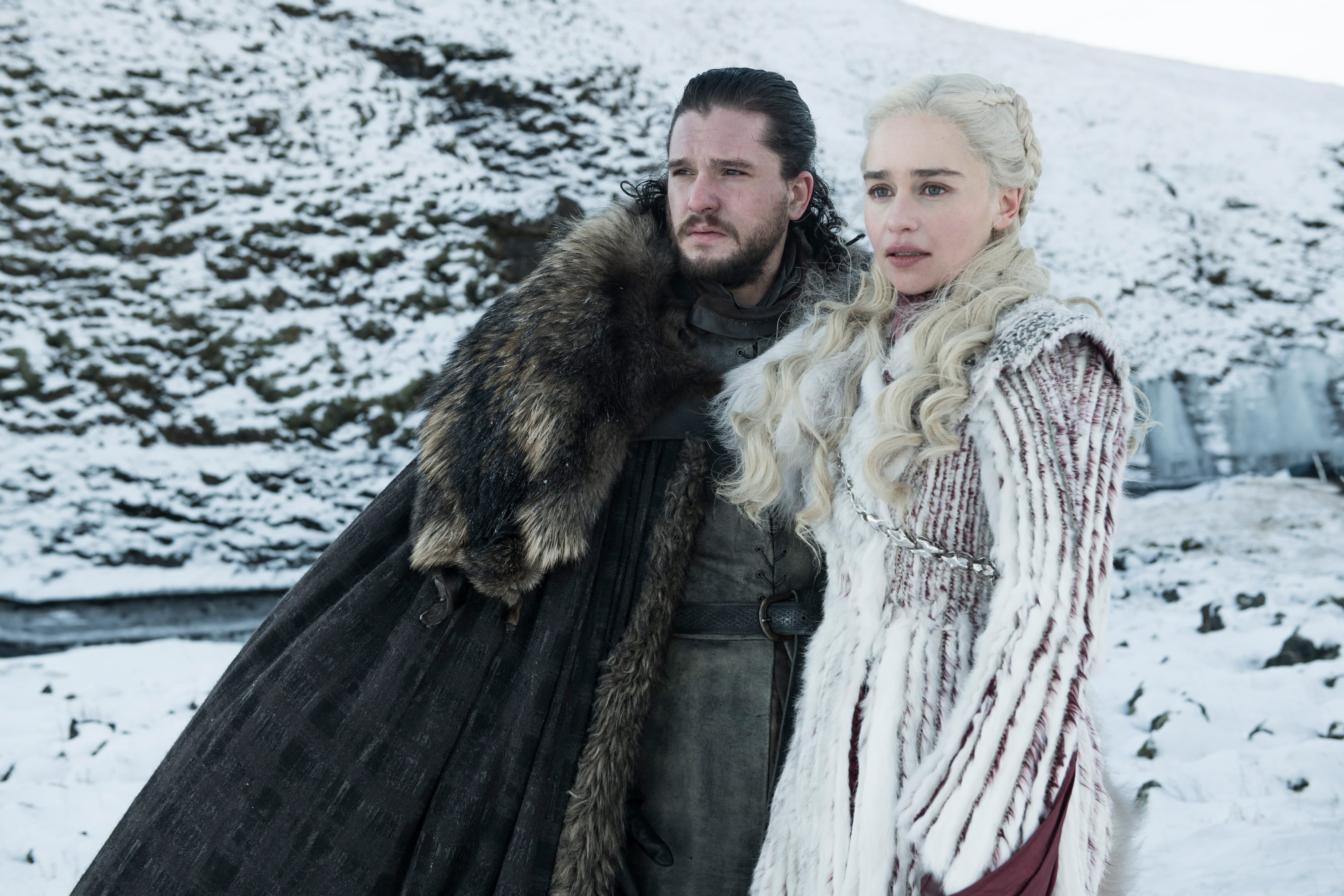 Actors Kit Harington and Emilia Clarke on the set of the eighth season of Game of Thrones.