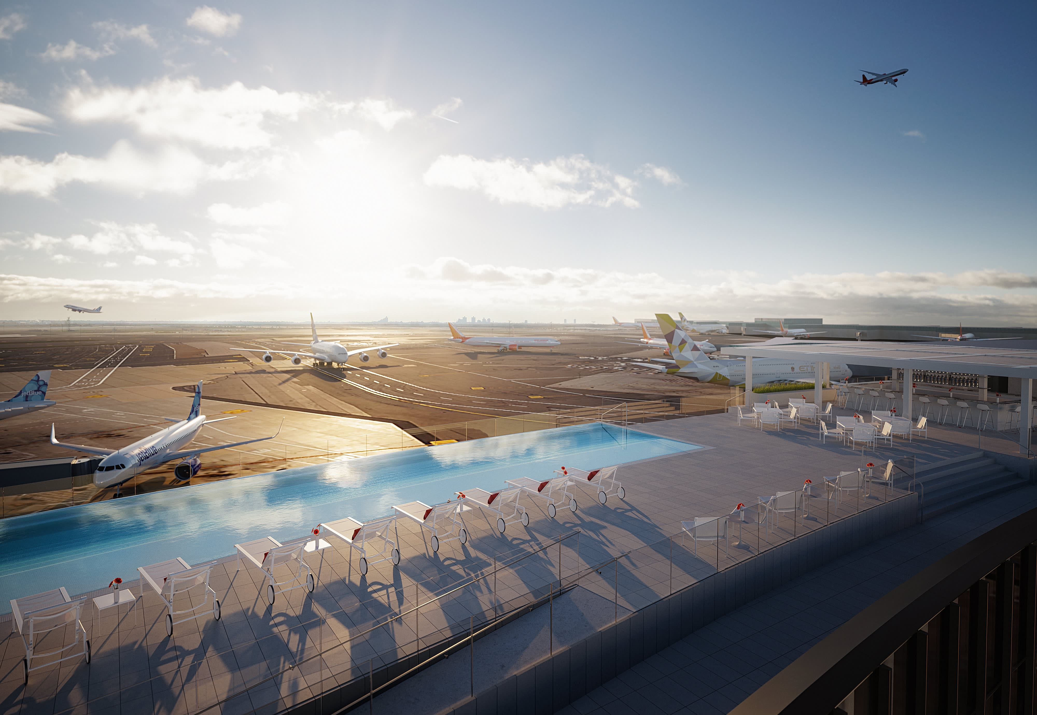 Pics new york 39 s jfk airport gets rooftop infinity pool at - Hotel new york swimming pool roof ...