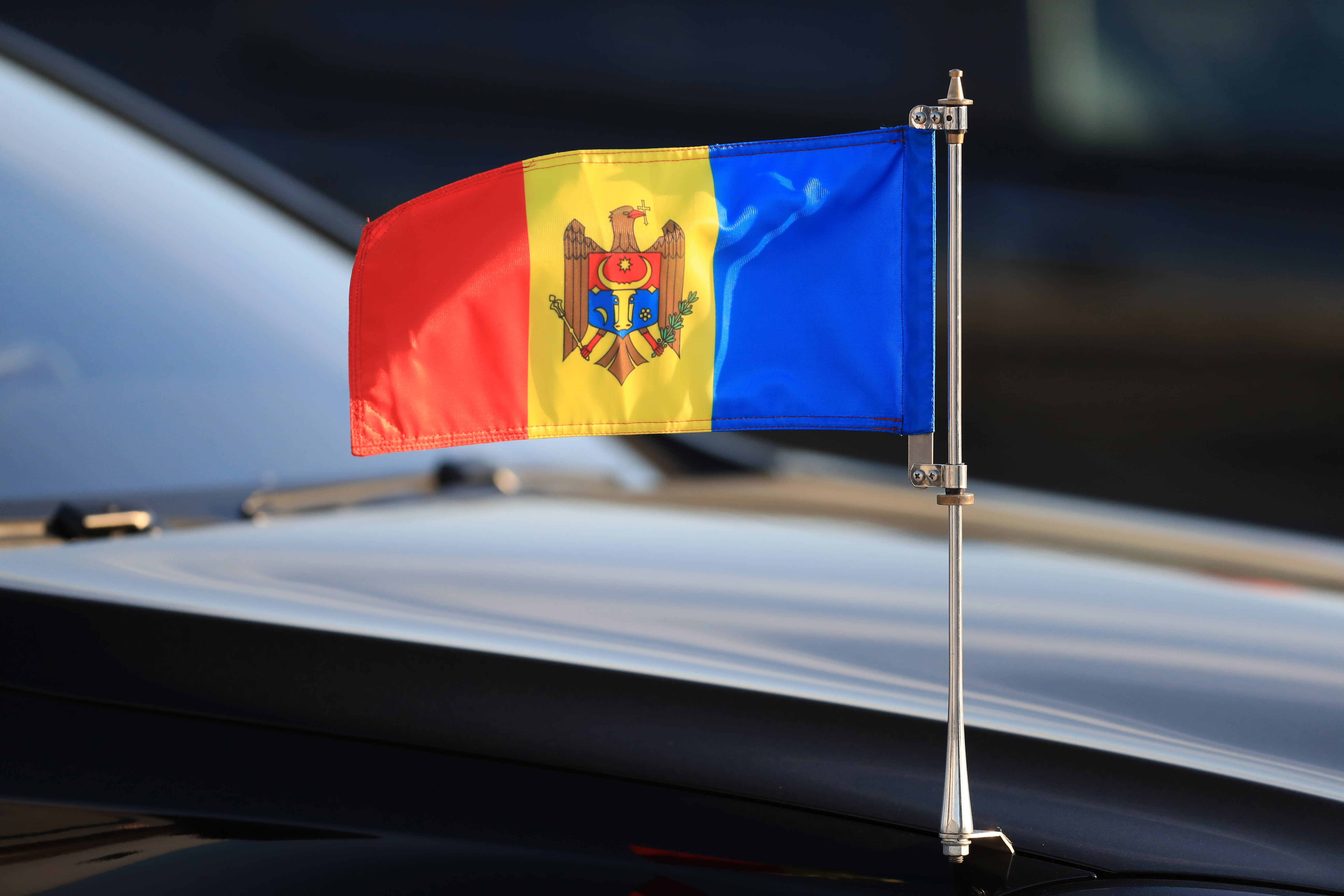 The Moldovan flag on a car of Moldova's President Igor Dodon arriving in St Petersburg to take part in the 2018 St Petersburg International Economic Forum.