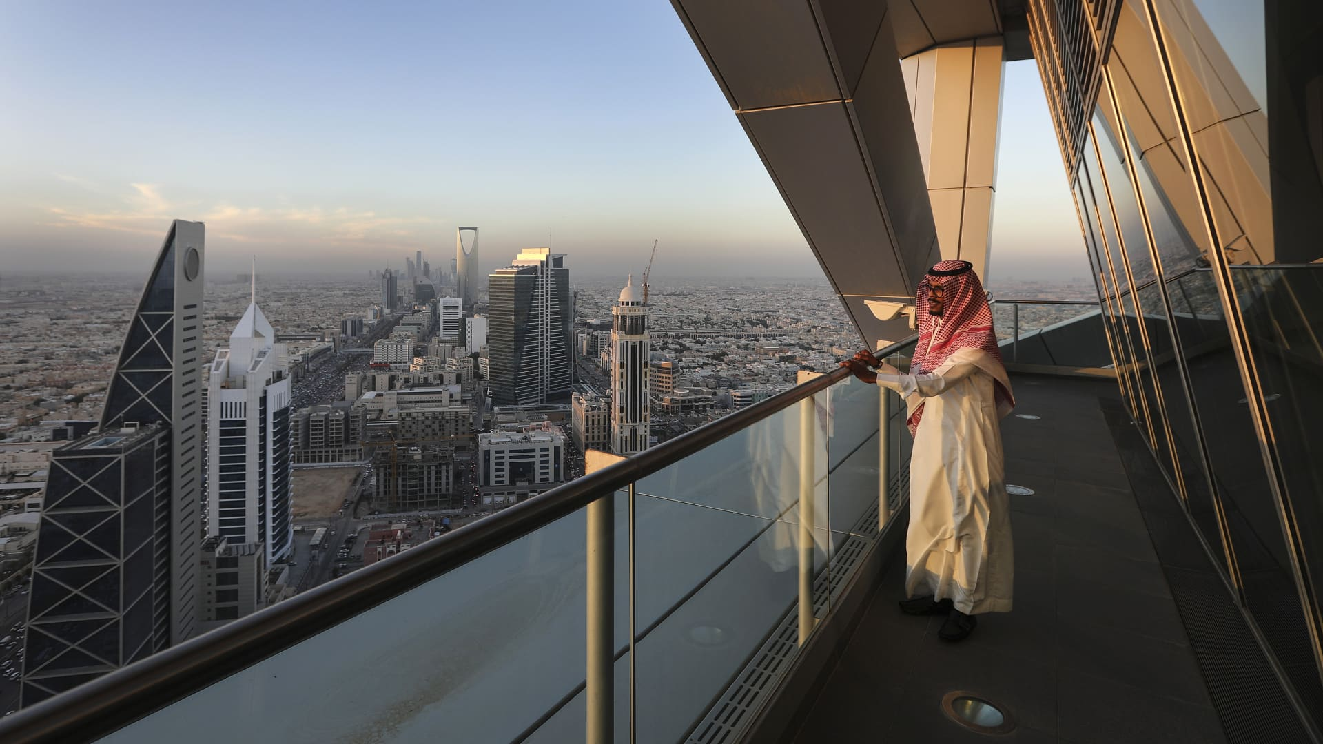 Skyline of Riyadh in Saudi Arabia.