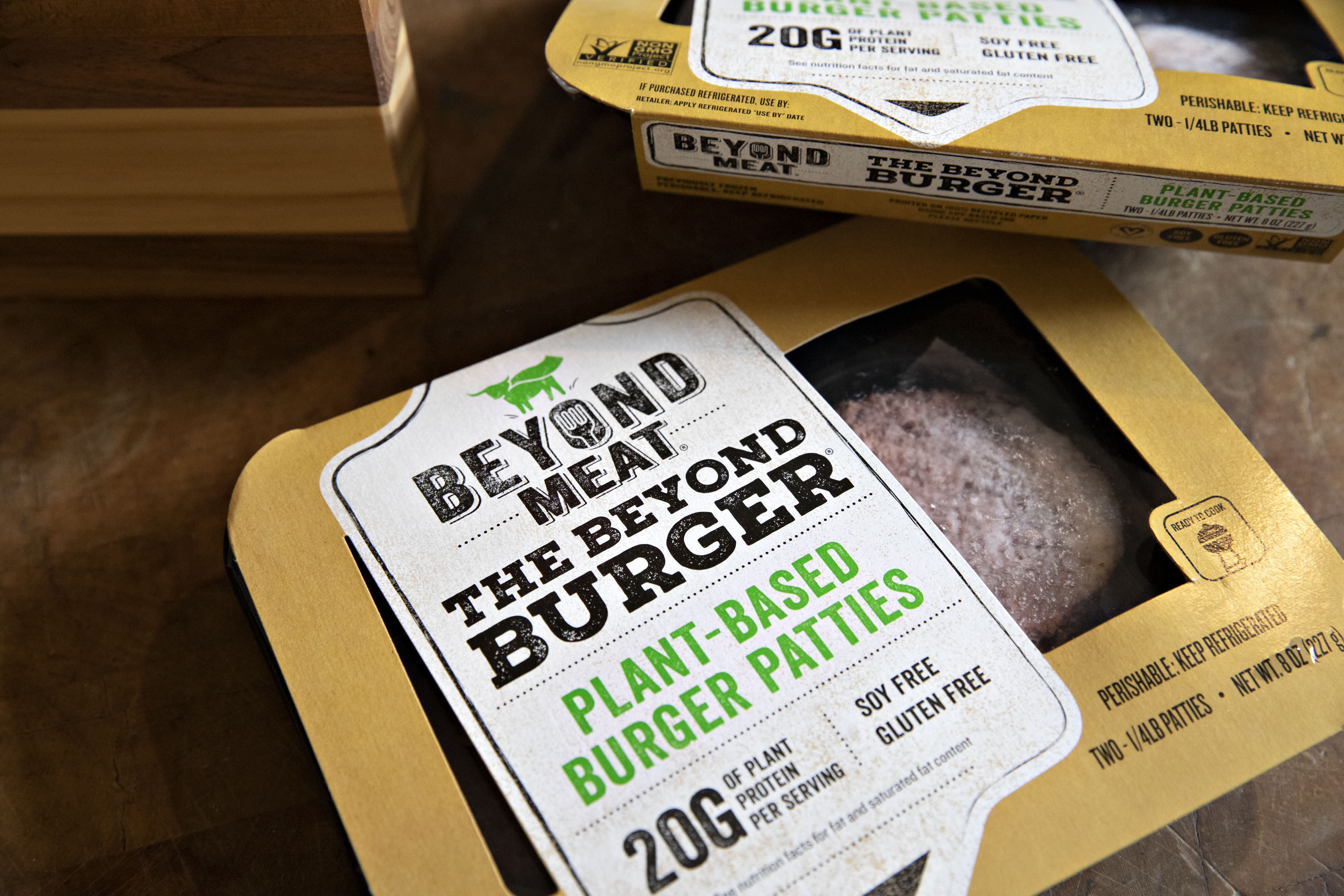 Packages of Beyond Meat plant-based burger patties are displayed for a photograph in Tiskilwa, Illinois.