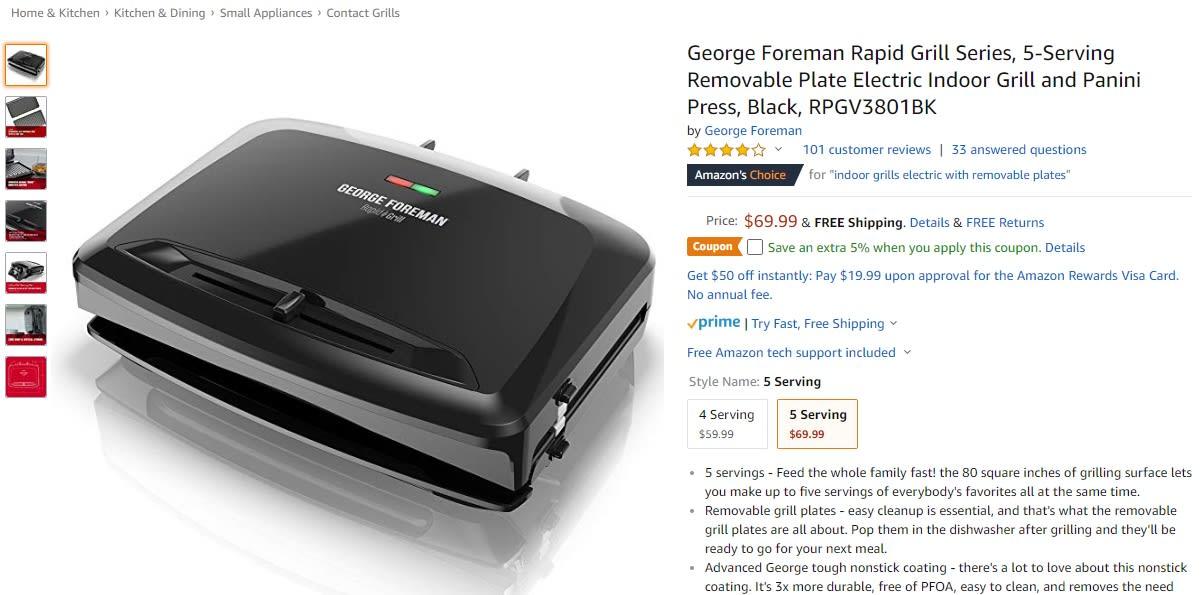 Foreman Grill coupon Amazon screenshot