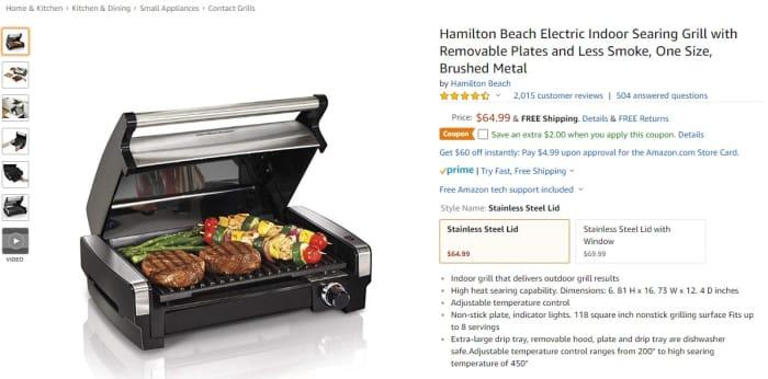 Hamiton Grill Deal amazon screenshot