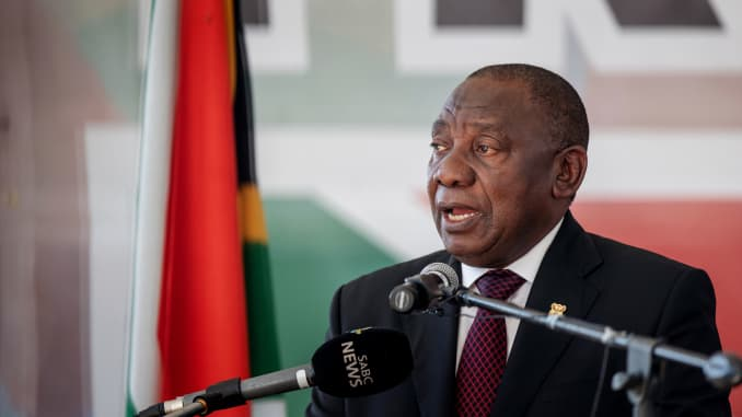 South African President Cyril Ramaphosa addresses the crowd gathered at the Miki Yili Stadium, ahead of the celebrations for the 25th anniversary of Freedom Day, in Makhanda, Eastern Cape Province on April 27, 2019.