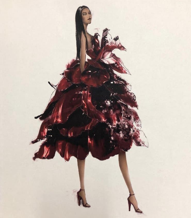 CNBC: Rose Dress Sketch