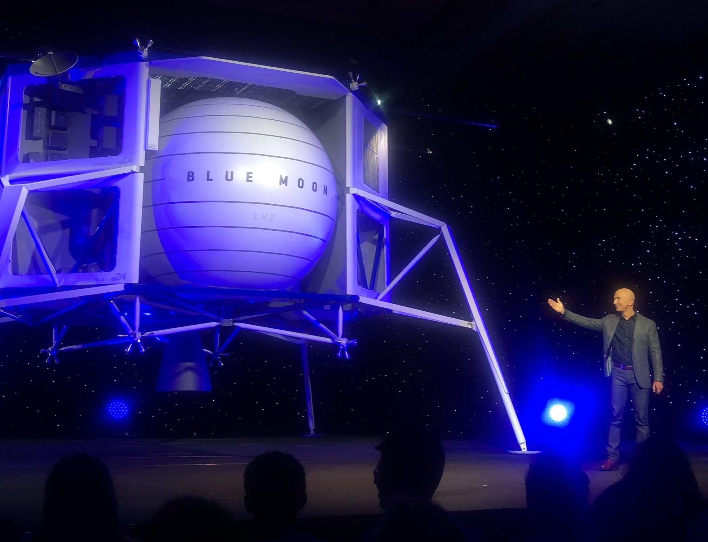 Blue Origin founder Jeff Bezos unveils the company's lunar lander.