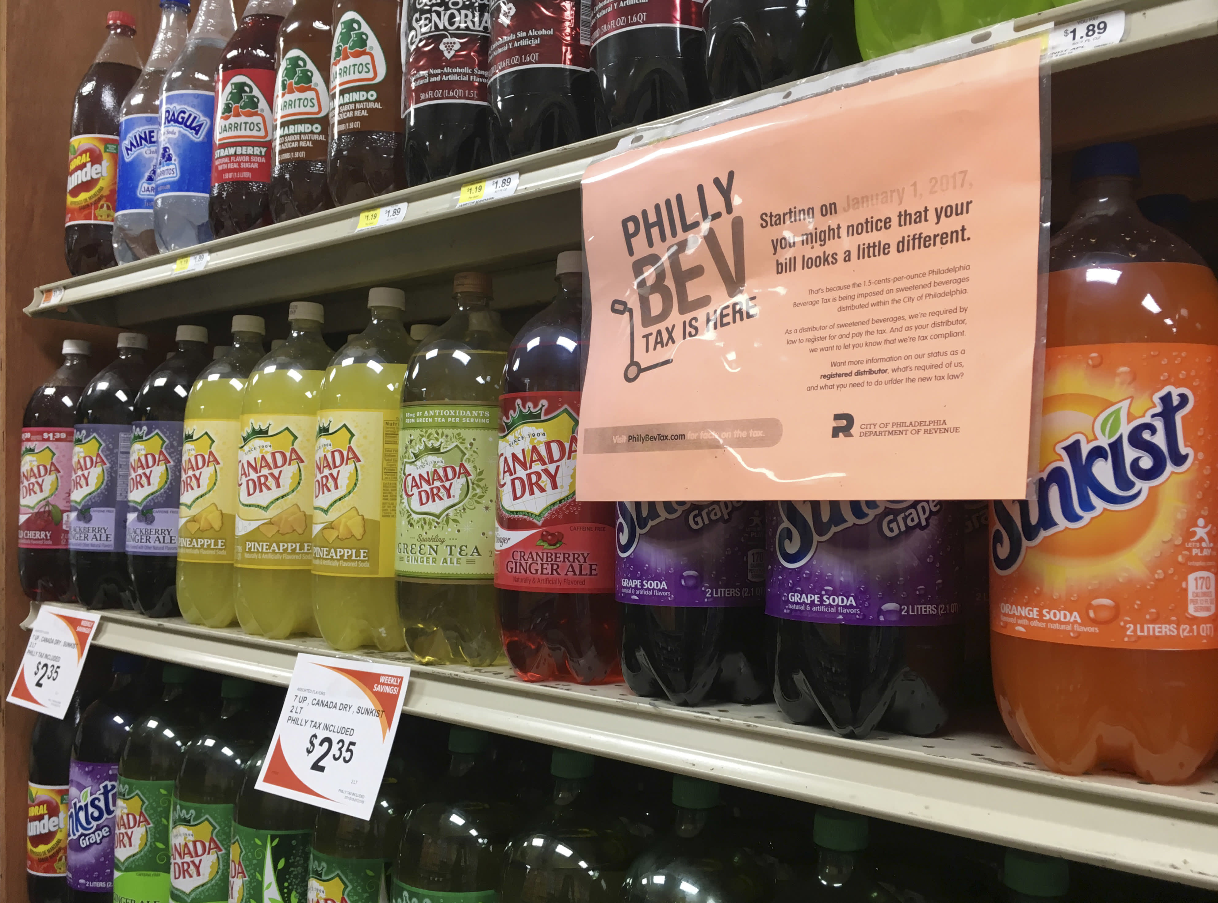 A sweetened beverage tax sign is posted by sweetened beverages at a supermarket in the Port Richmond neighborhood of Philadelphia, Wednesday, July 18, 2018.