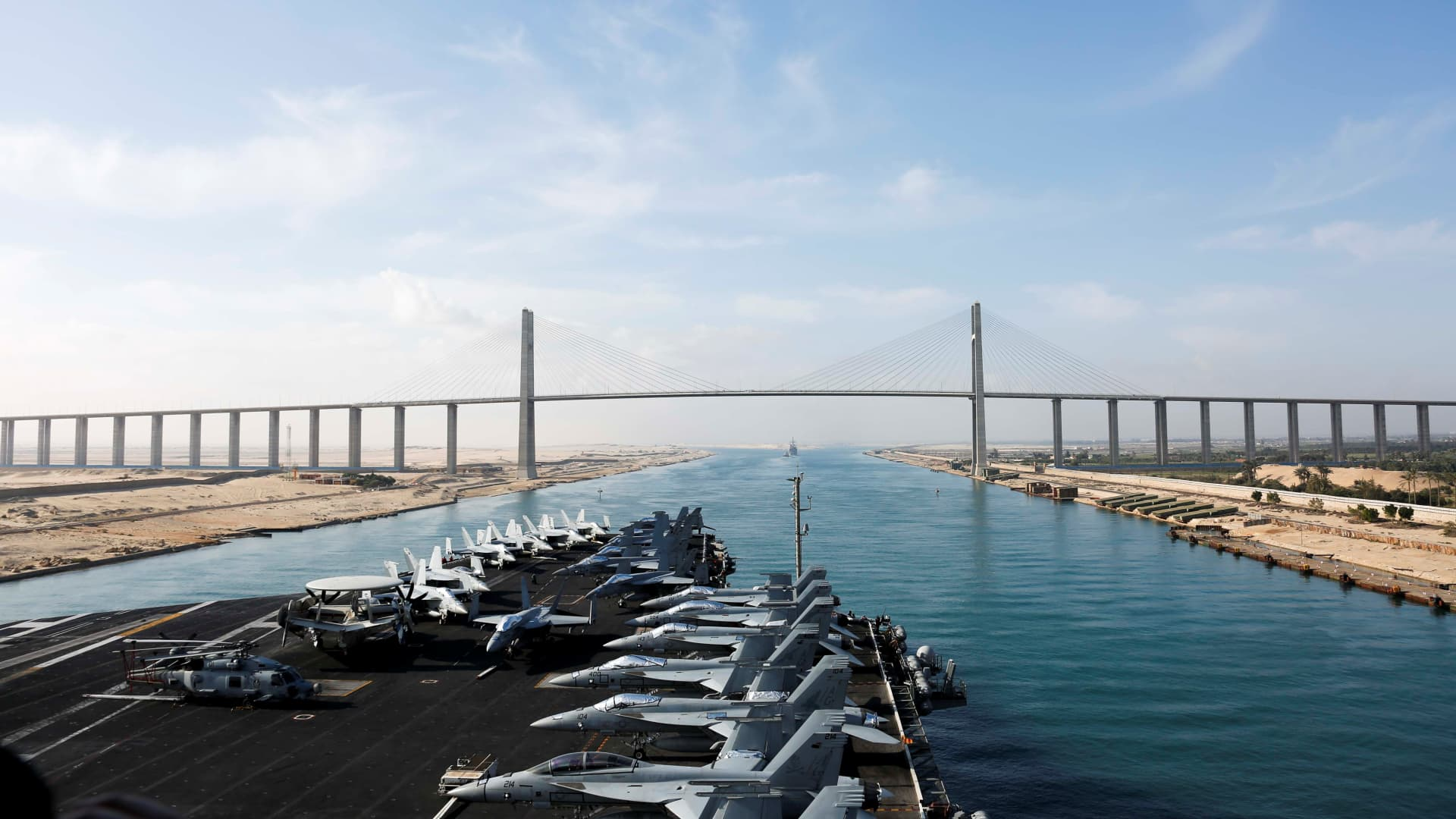 The Nimitz-class aircraft carrier USS Abraham Lincoln approaches the Mubarak Peace Bridge as it transits the Suez Canal in Egypt, May 9, 2019. Picture taken May 9, 2019.