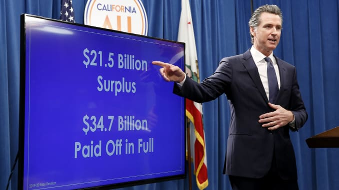 California governor pushes new taxes, fees despite $21