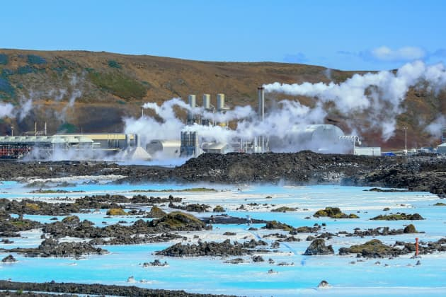 GP: Geothermal power plant at the Blue Lagoon in Iceland