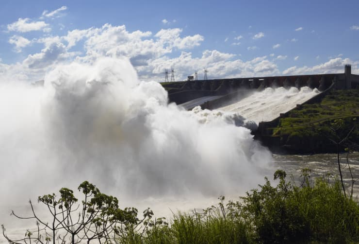 GP: Brazil, Itaipu Dam, Water flowing over spillway of dam