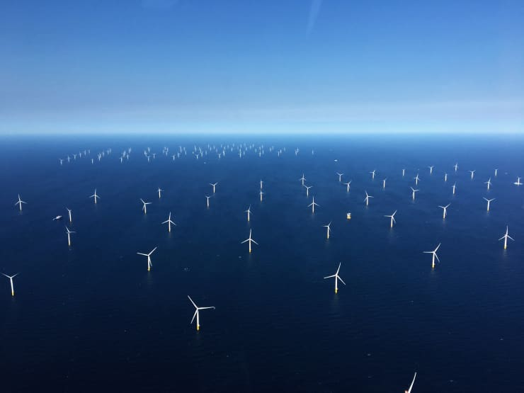 GP: High Angle View Of Wind Turbines In The Sea