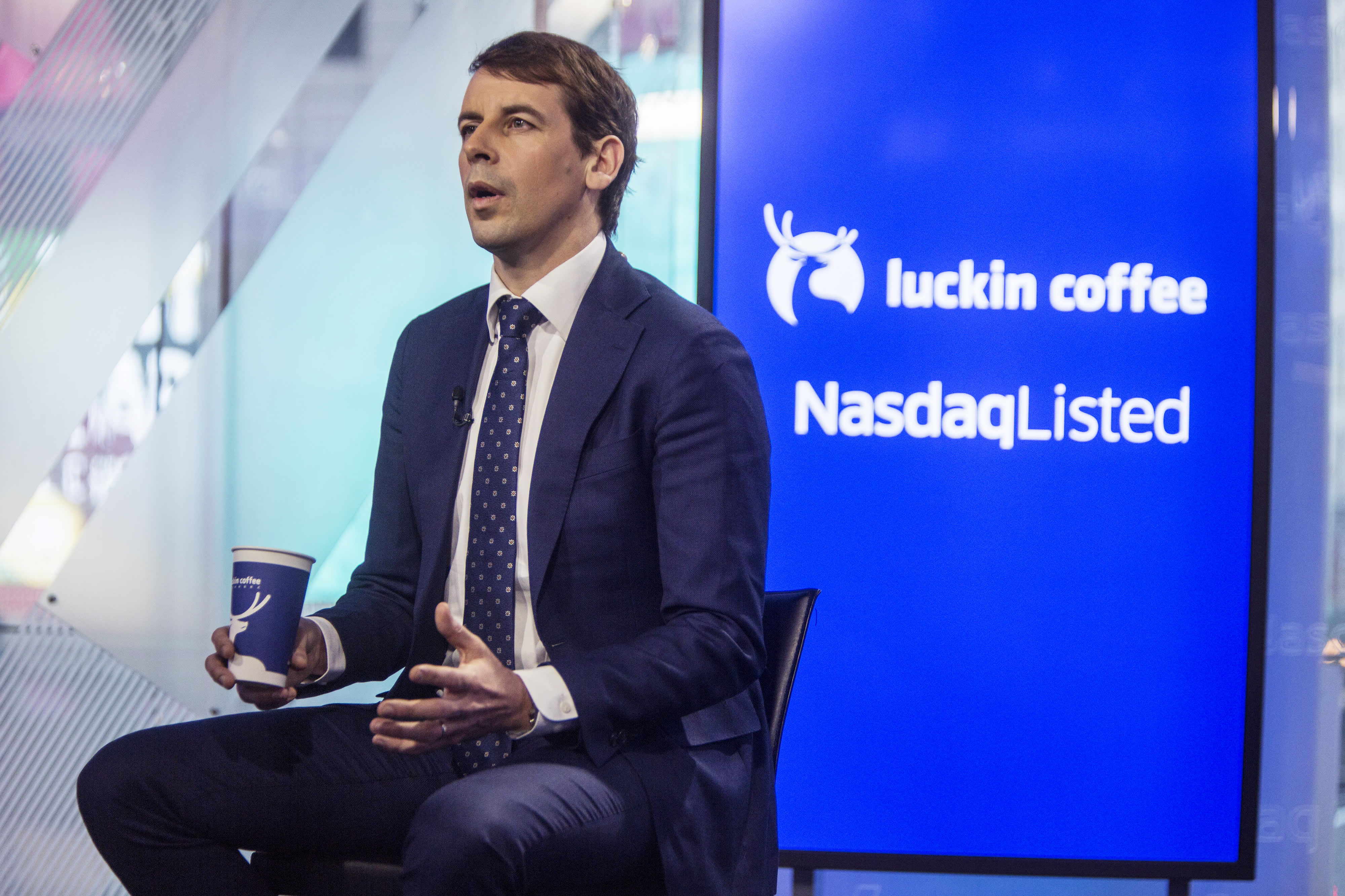 Luckin Coffee surges as much as 50% in its market debut